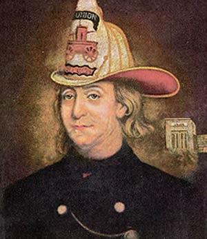 Benjamin Franking in fire helmet
